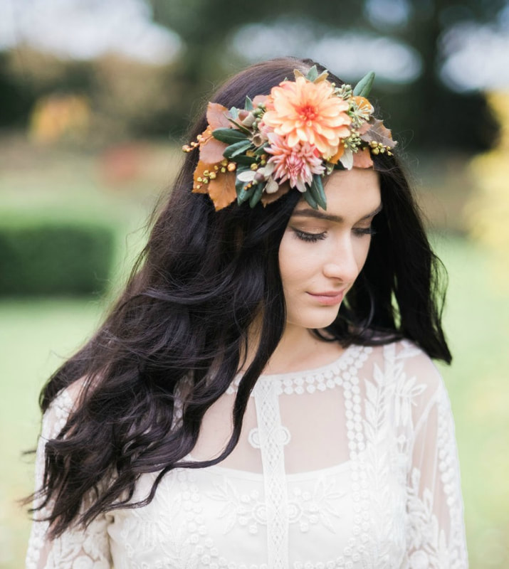 Floral head piece for the bride made from Autumn flowers & foliage