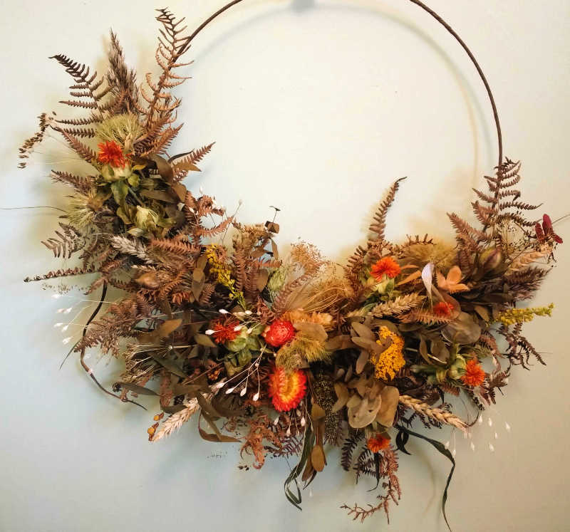 Autumn Wreath of dried flowers, foliage & more by Rosie Gray, Galloway Flowers, Castle Douglas Florist