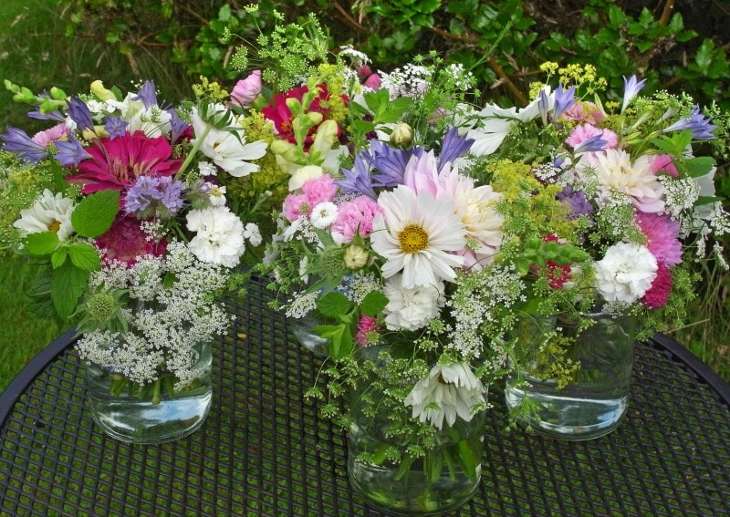 Jam jar posies for a summer wedding in the country