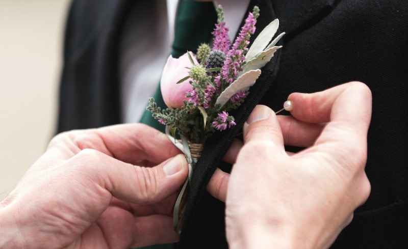 Buttonhole from locally grown seasonal flowers from wedding florist in dumfries & galloway. Galloway flowers.
