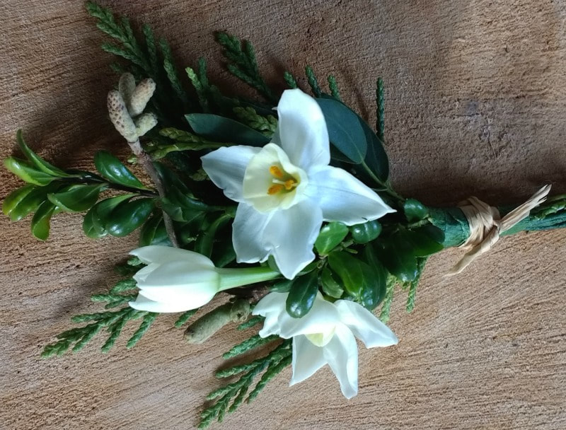 Buttonhole of natural flowers & foliage made for a Gretna Green wedding