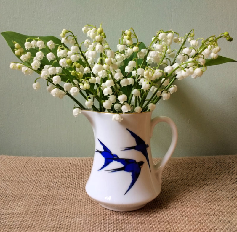 Lily of the Valley in a vintage jug copyright Rosie Gray, www.GallowayFlowers.co.uk