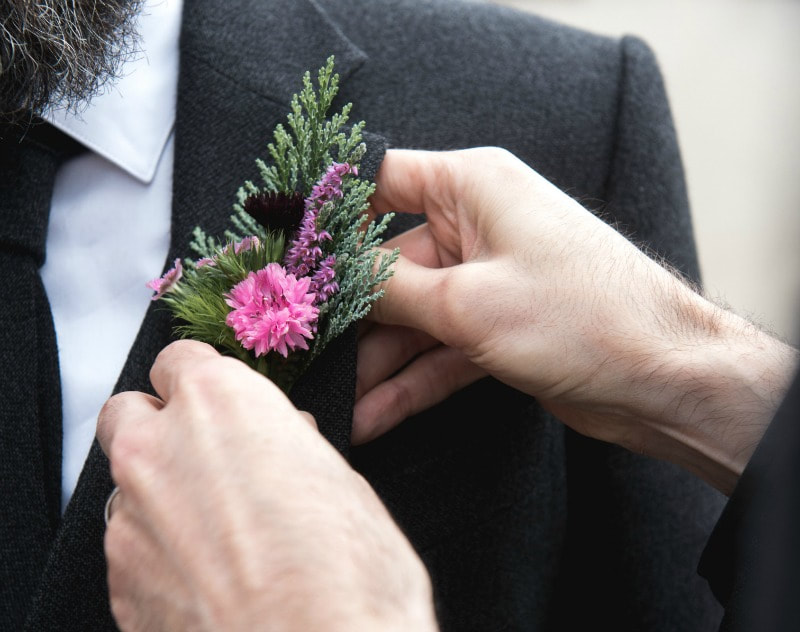 Buttonhole for the groom including heater for a groom at a Scottish wedding. Photo Elemental Photography