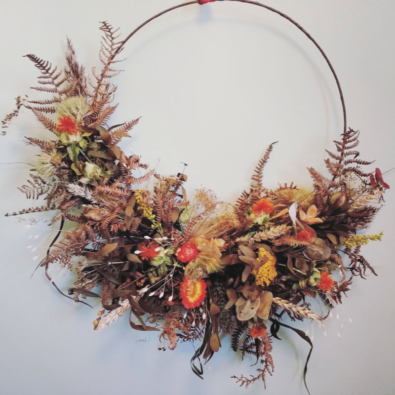 Contemporary fried flower hoop by Rosie Gray, Galloway Flowers