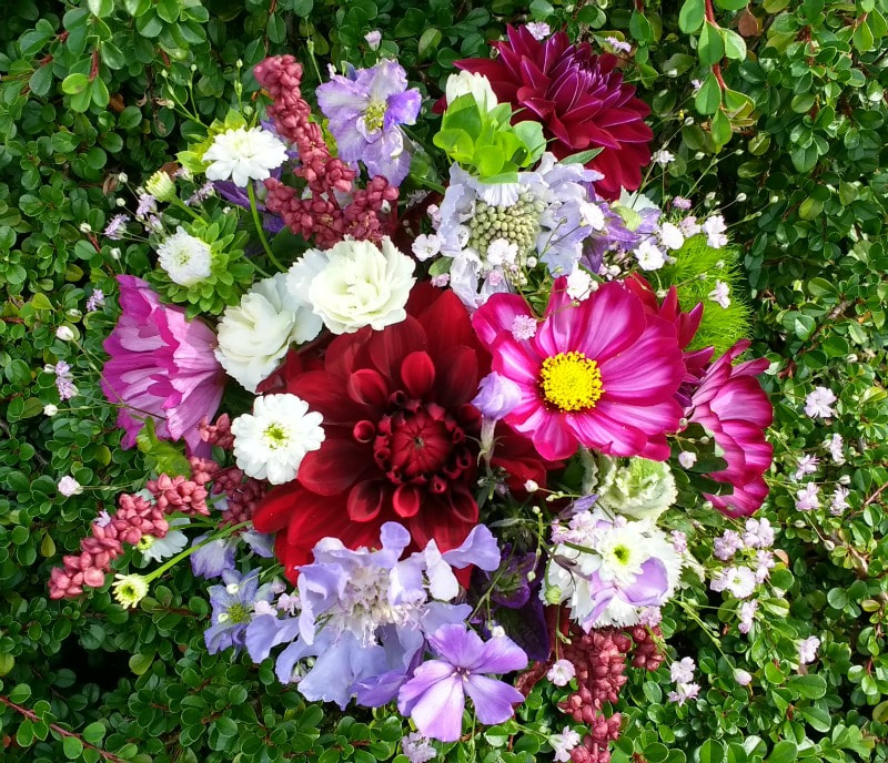 flower girl posy of bright summer flowers by Galloway Flowers wedding florist dumfries & galloway